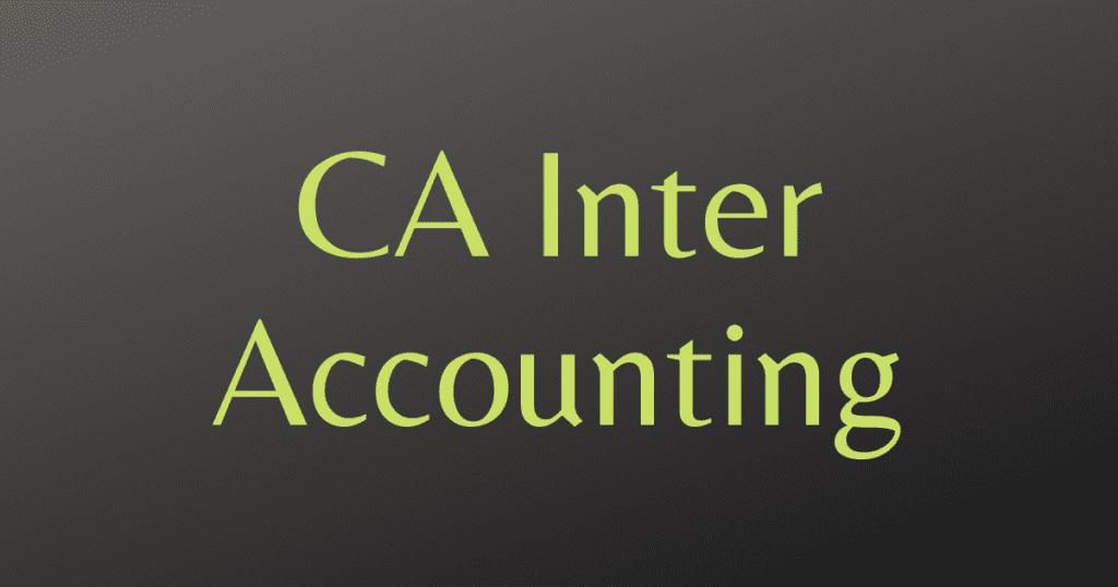 CA Inter Accounting