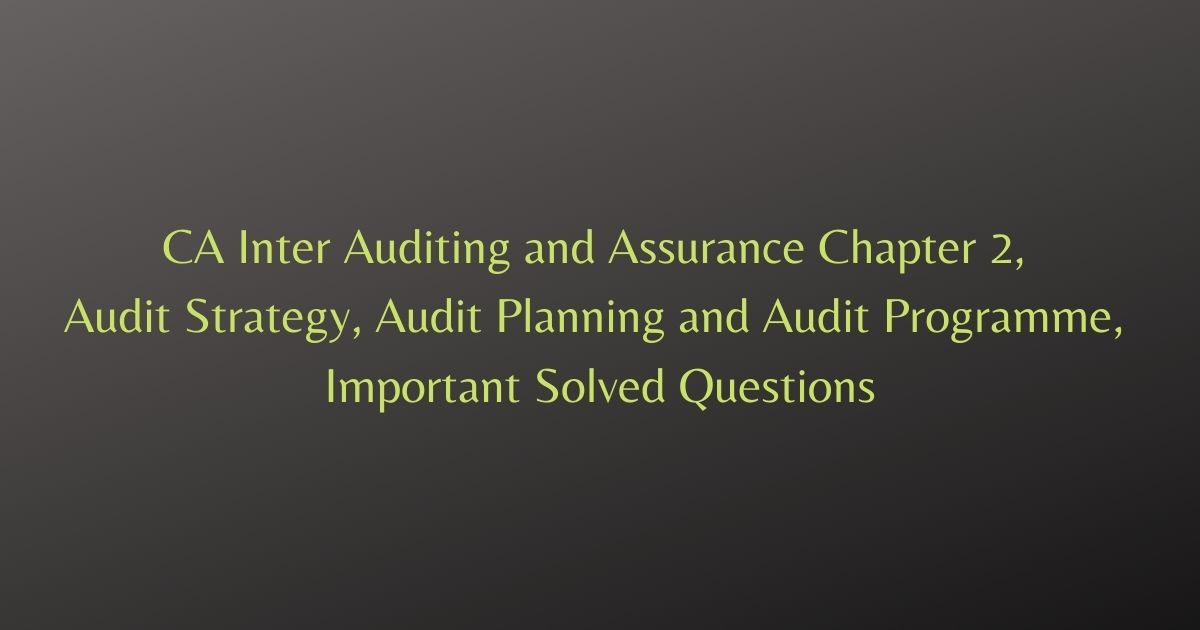 CA Inter Auditing and Assurance Chapter 2, Audit Strategy, Audit Planning and Audit Programme, Important Solved Questions