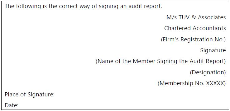 correct way of signing an audit report